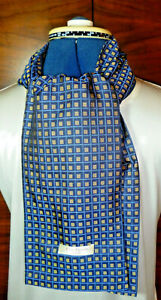 100% woven silk men's cravat/scarf  Fawn and blue checked pattern  NEW