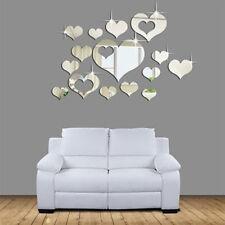 Set 16 Pcs Miroir Autocollant Sticker Mural Coeur Motif DIY Décor Maison Mariage