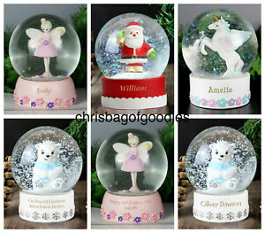 PERSONALISED Glass BIRTHDAY CHRISTMAS XMAS SNOW GLOBE Gifts for Girls Boys her