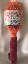 Conair Color Swirls Detangle And Style Brush Rubber Grip Cushion Orange Pink