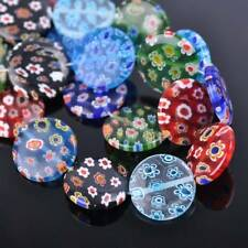 10pcs 20mm Oblate Millefiori Glass Loose Spacer Beads Craft Findings Lots