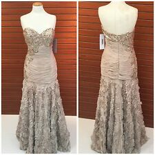 NWT JOVANI 73697  STRAPLESS MARMAID CHAMPAGENE STRAPLESS EMBLISHED GOWN $899