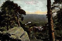 Schwarzburg Thüringen AK ~1910 Durchblick vom Trippstein Schloss Wald Bäume