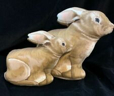 2 - Vintage Stuffed Rabbits Mother and Baby Bunny Fabric Easter Decorative