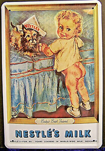 Nestle Milk Nestles Baby Best Friend Nudie 4 5/16in x 3 1/8in Tin Sign