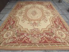 Old Hand Made French Design Wool 12x9 Beige Gold Original Aubusson 375X261cm