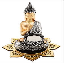 Buddha Meditation Statue with Mandala Flower Tealight & Candle Holder