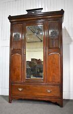 Antique Victorian carved freestanding mirror door wardrobe