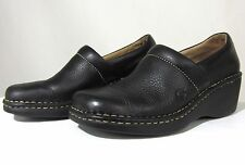 Born womens 9 black pebble leather wedge heel clogs EU 40.5 slip on loafer