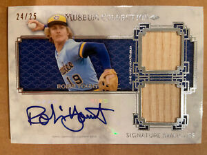 ROBIN YOUNT AUTO / 2 BAT RELICS 2014 TOPPS MUSEUM BASEBALL 24/25 BREWERS