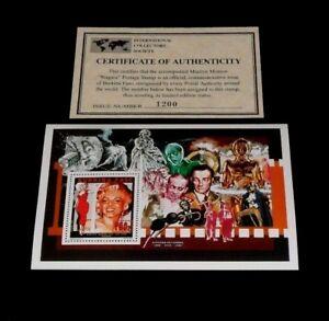 1995, BURKINA FASO, MARILYN MONROE, LIMITED EDITION, 750f SOUVENIR SHEET, W/COA