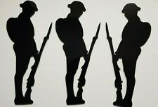 More details for 3 x unknown soldier silhouettes 11'' aluminium remembrance memorial military