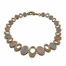 Womens Tri Color Finish Hammered Ovals Link Bracelet