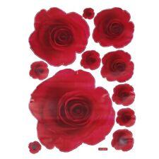 50*70CM Pretty Wall Sticker 3D Rose red Rose Flower Removable Home Decor De V8C7