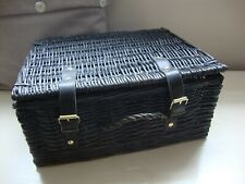 Small Weaved Wicker Picnic Hamper Basket With Handle & Faux Leather Straps-Used