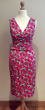 PHASE EIGHT DRESS STRETCH SIZE 8 WHITE PINK GREEN FLORAL