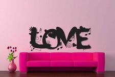 Wall Vinyl Sticker Decals Art LOVE Love Music Notes Heart Flower  #163