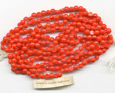 Vintage Opaque Red Nailhead Beads 4mm Full Hank of 288-300 Pcs. Circa 1920's
