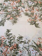"Classic Floral Flower Soft Crepe Dress Skirt Fabric 58"" Width  CREAM/GREEN"