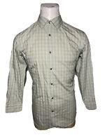 Banana Republic Large L Green Non-Iron Slim Fit Mens Button-Front Shirt 16-16.5