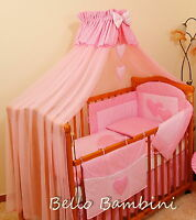 10pcs BABY BEDDING SET /BUMPER/CANOPY /HOLDER/DUVET/CANOPY 4 COT BED or COT PINK