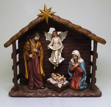 NATIVITY BIRTH OF JESUS IN A MANGER FIGURINE STATUE.BORN OF CHRIST.COLORED.NICE!