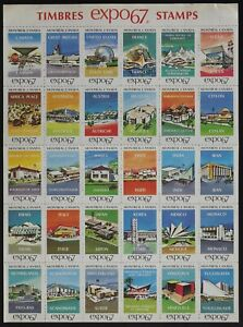 Montreal Timbres Expo 67 Stamps.Pavilion labels pane of 30 diff -see description