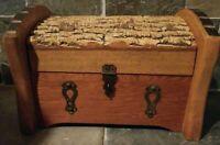 Vintage Handcrafted Live Edge Wood Trunk Jewelry Keepsake Treasure Box