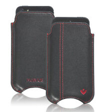 For Apple iPhone 5c Black Real Leather NueVue Screen Cleaning Sleeve Red Stitch
