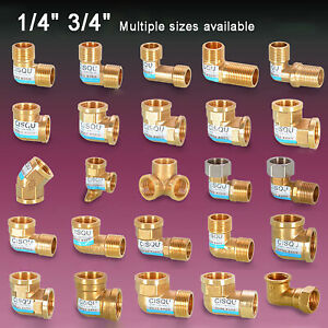 """1/2"""" 3/4"""" Brass Elbow Female Male BSP Thread Fitting Connector Equal / Reducing"""