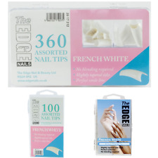 The Edge Nails Tapered French White Nail Tips Cut Out Well Area In 50's 100 360