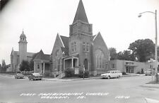 Waukon Iowa~First Presbyterian Church~Bookstore?~1950s Cars~Real Photo~RPPC