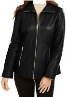 Anne Klein Womens Zip-Front Leather Jacket Medium Black