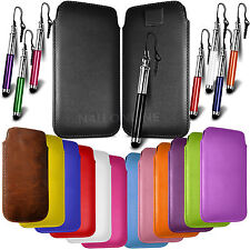 LEATHER PULL TAB SKIN CASE COVER POUCH & STYLUS FOR VARIOUS MOTOROLA PHONE