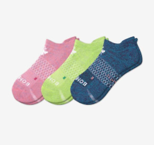3-Pack Bombas Women's All-Purpose Performance Ankle Sock - Med - Pink Green Blue