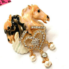 Hot Betsey Johnson Black&White Enamel Crystal heart Horse Charm Brooch Pin Gift