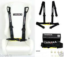 1 TANAKA UNIVERSAL BLACK 4 POINT BUCKLE RACING SEAT BELT HARNESS