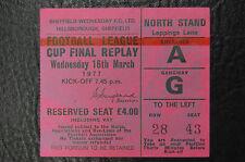 TICKET 1977 LEAGUE CUP FINAL  REPLAY  ASTON VILLA V EVERTON