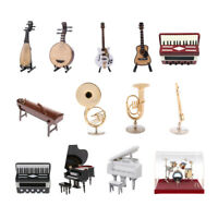 Multi Miniature Musical Instrument Guitar Piano Drum Flute for 1/12 Dollhouse