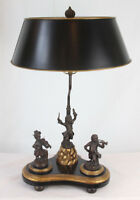 Rare Vintage Art Deco Bronze Figural Lamp with Bronze Monkey Musical Band