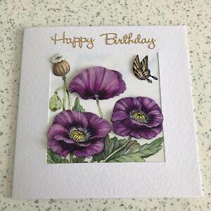 Large Handmade Happy Birthday card 3D decoupage pretty oriental purple poppy