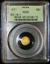 1871 50C Gold BG-1011 PCGS MS65 OGH