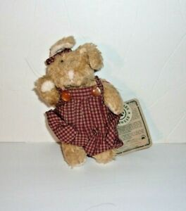 "Boyds Bears Bearwear Patti Tan Bunny Rabbit Red Gingham Overalls Plush Mini 5"""