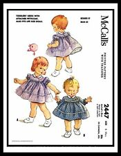 McCall's 2447 Helen Lee Sewing Pattern PlaySuit DRESS Smock Toddler ~6mth~ DOLL
