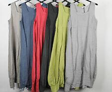 New Ladies Plain Italian Lagenlook Quirky Long Boho Pocket Linen Tunic Dress