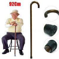 "36"" 92cm wooden Walking Stick Cane Carved Varnished Non-slip Crook Handle Sturdy"
