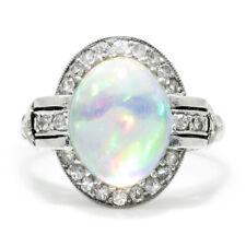 Art Deco Jelly Opal Ring with Diamonds Platinum 3.66ctw