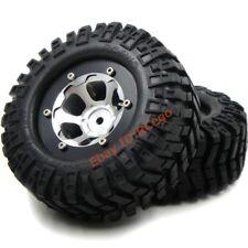 "2pc RC 1.9"" Crawler Tires 95mm Tyres & Alum Alloy 1.9 Beadlock Wheels Hex 12mm"