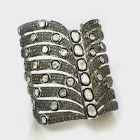 Natural Rose Cut Diamond Polki 18k Gold 925 Sterling Silver Bracelet Bangle