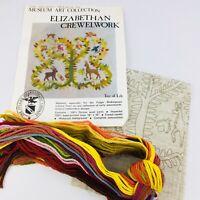 Vtg Tree of Life Crewel Embroidery Kit 1977 Elizabethan Trevelyon Complete